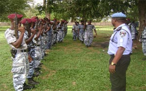 National Police Operational Support Division undergoing pre Election Crowd Control Training.
