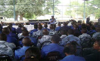 UNPOL  officer with SLP personnel during elections-specific training.